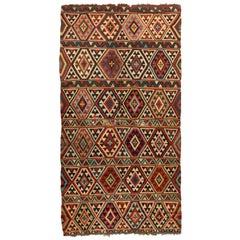 Mildly Distressed Antique Caucasian Kilim Rug, circa 1910s-1920s