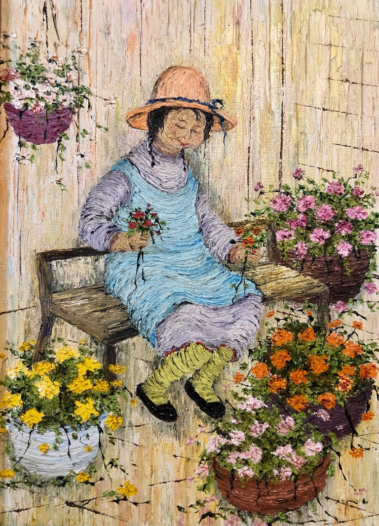 Naive Oil Painting Folk Art Florist Flower Seller with Bouquets of Flowers For Sale 7