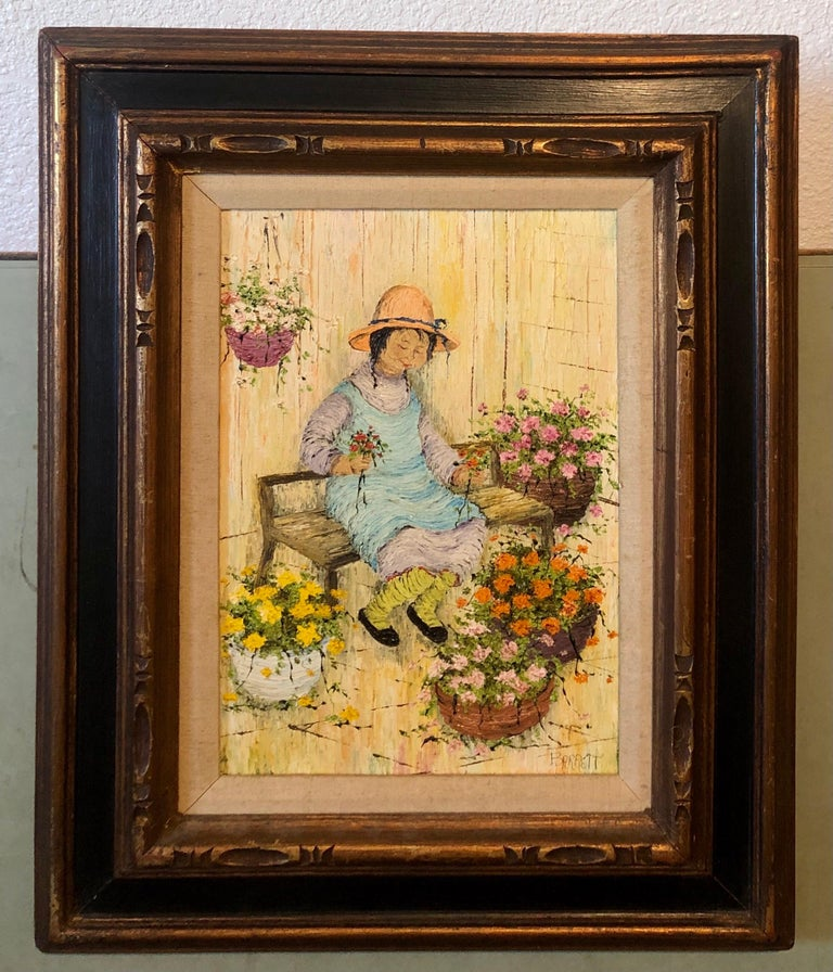 Naive Oil Painting Folk Art Florist Flower Seller with Bouquets of Flowers For Sale 8