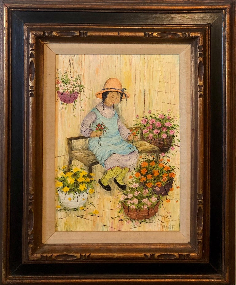 Naive Oil Painting Folk Art Florist Flower Seller with Bouquets of Flowers - Beige Figurative Painting by Mildred Barrett