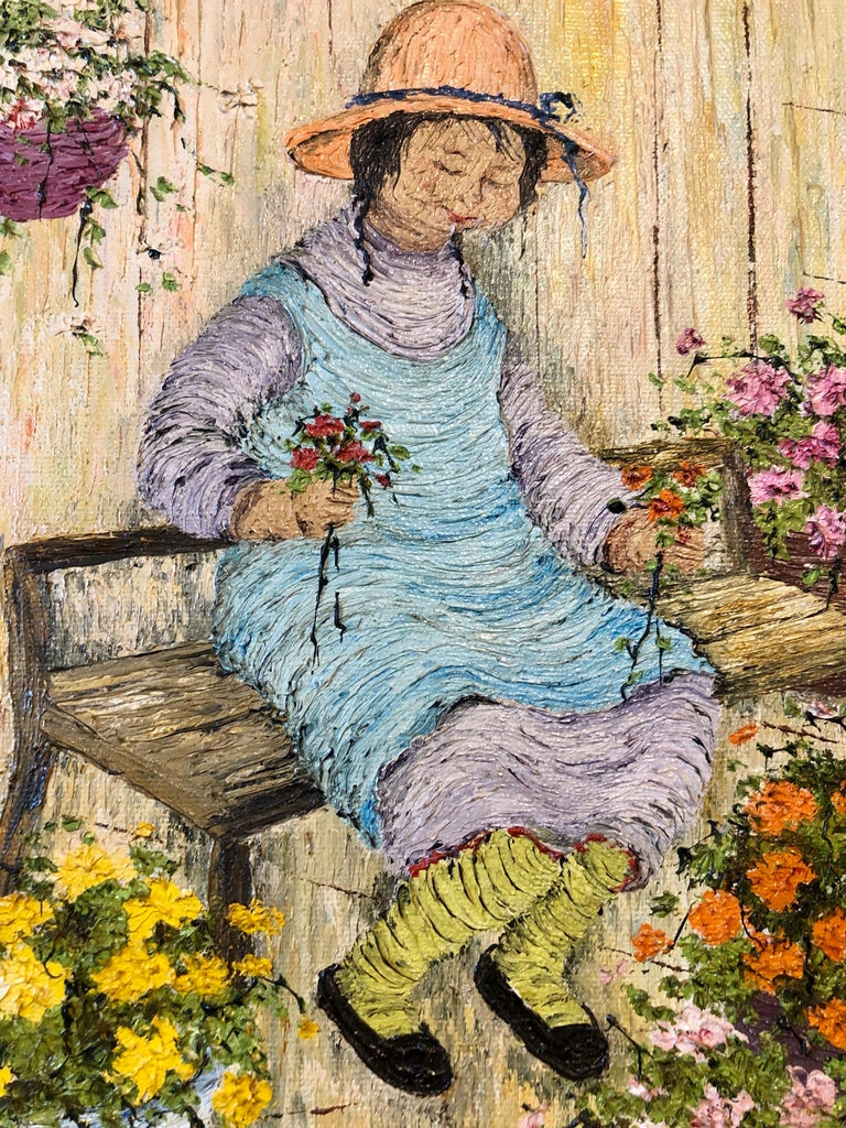 Naive Oil Painting Folk Art Florist Flower Seller with Bouquets of Flowers For Sale 3