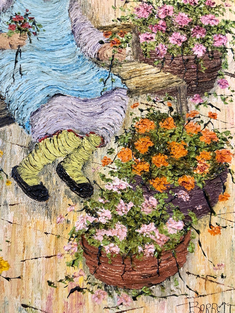 Naive Oil Painting Folk Art Florist Flower Seller with Bouquets of Flowers For Sale 4