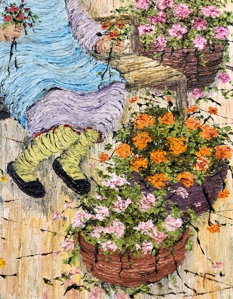 Naive Oil Painting Folk Art Florist Flower Seller with Bouquets of Flowers For Sale 5