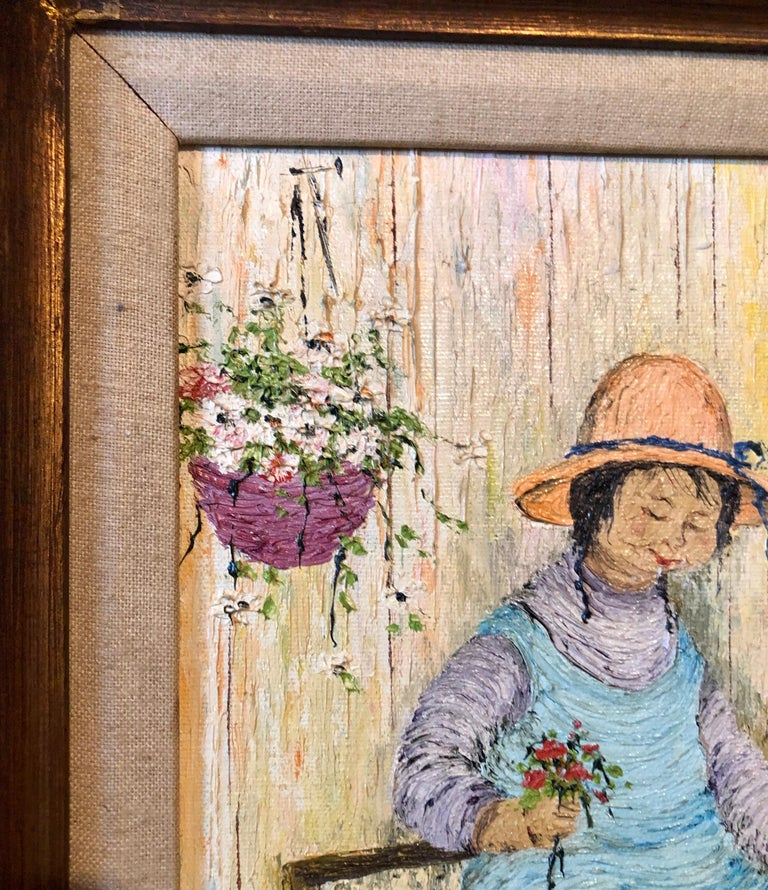 Naive Oil Painting Folk Art Florist Flower Seller with Bouquets of Flowers For Sale 6