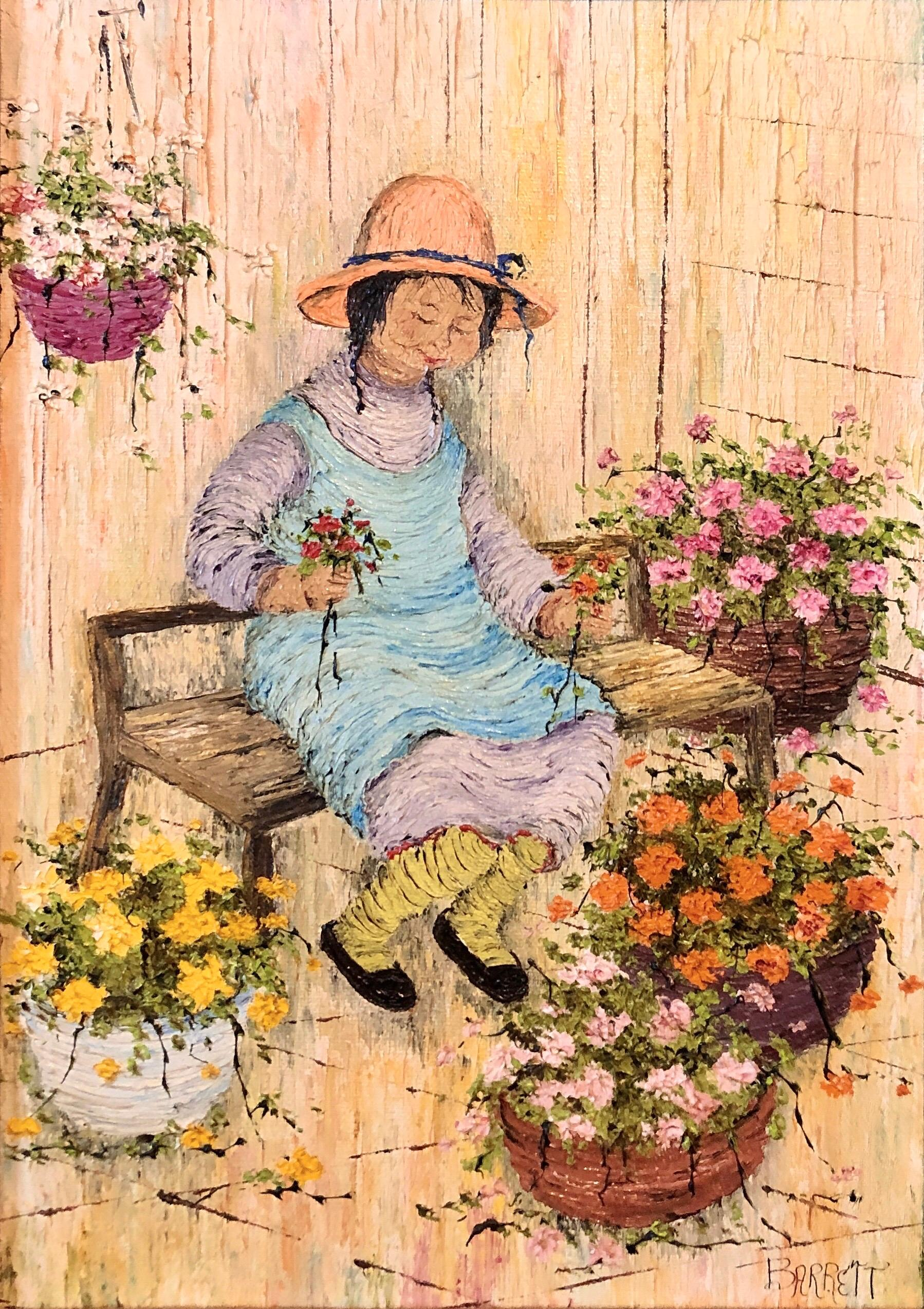 Naive Oil Painting Folk Art Florist Flower Seller with Bouquets of Flowers