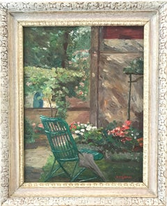 """""""Garden Scene with Flowers"""" 20th Century American Impressionistic Oil Painting"""
