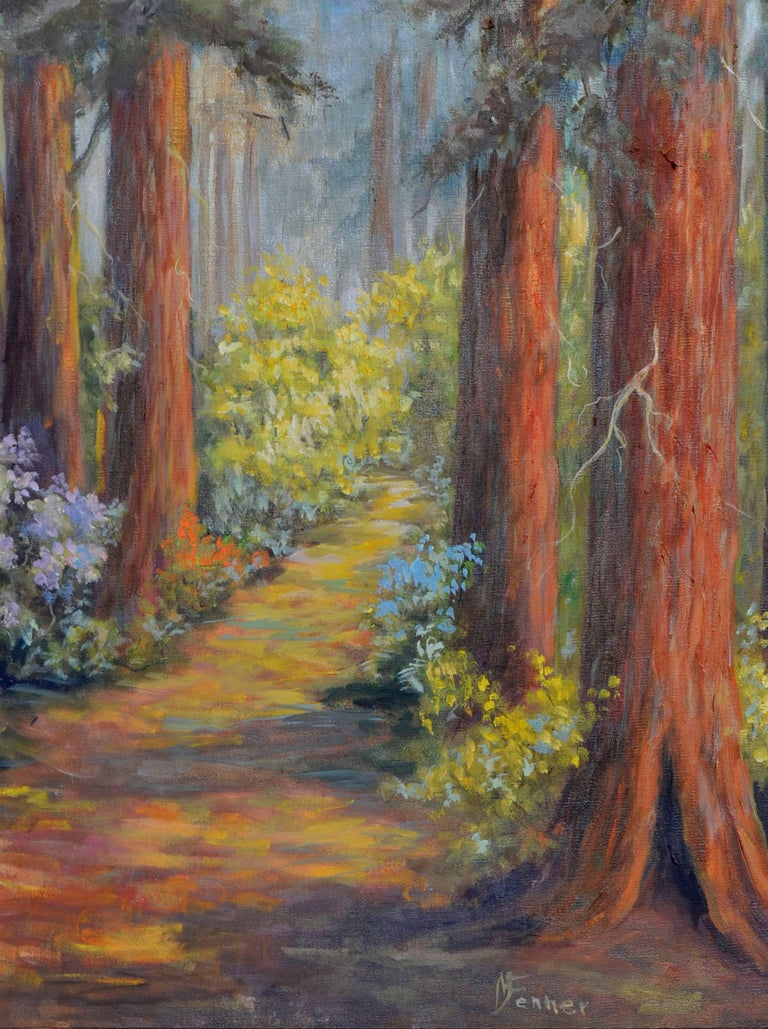 Henry Cowell Redwoods  - Gray Landscape Painting by  Mildred Vejtasa Fenner