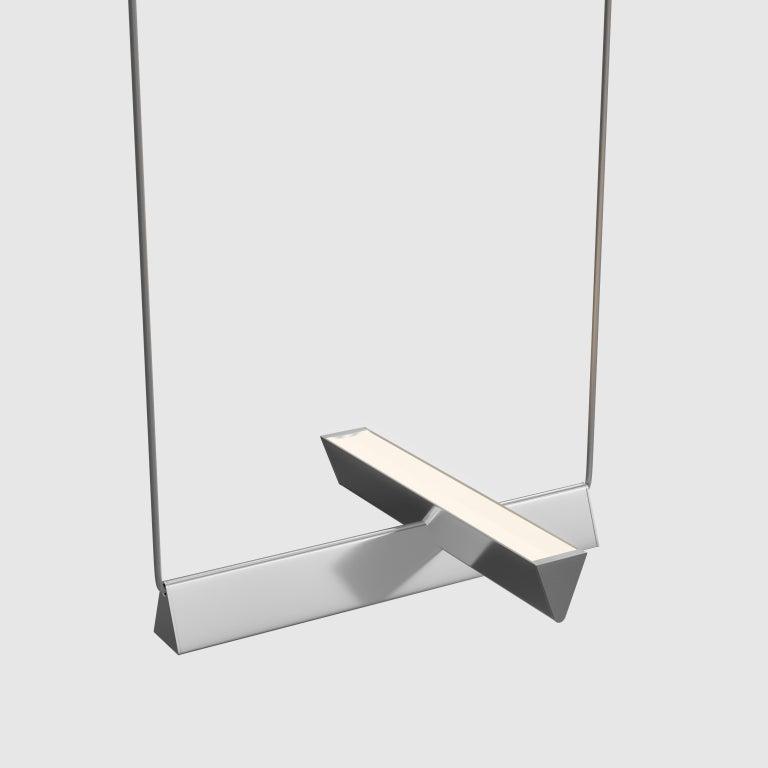Canadian Mile 02, Polished Aluminum Linear Suspension, LED For Sale