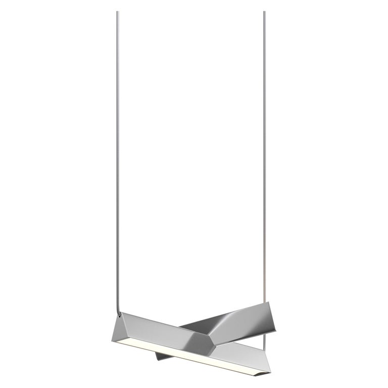 Mile 02, Polished Aluminum Linear Suspension, LED For Sale