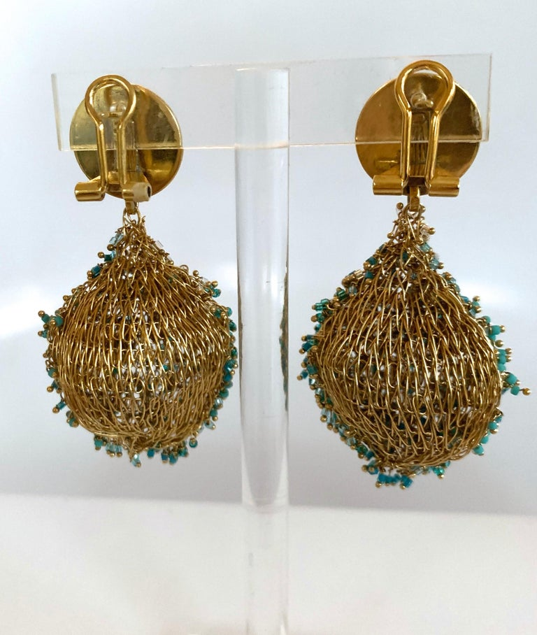 Milena Zu Woven Brass Plated Gold and Turquoise Pierced Earrings In New Condition For Sale In Virginia Beach, VA