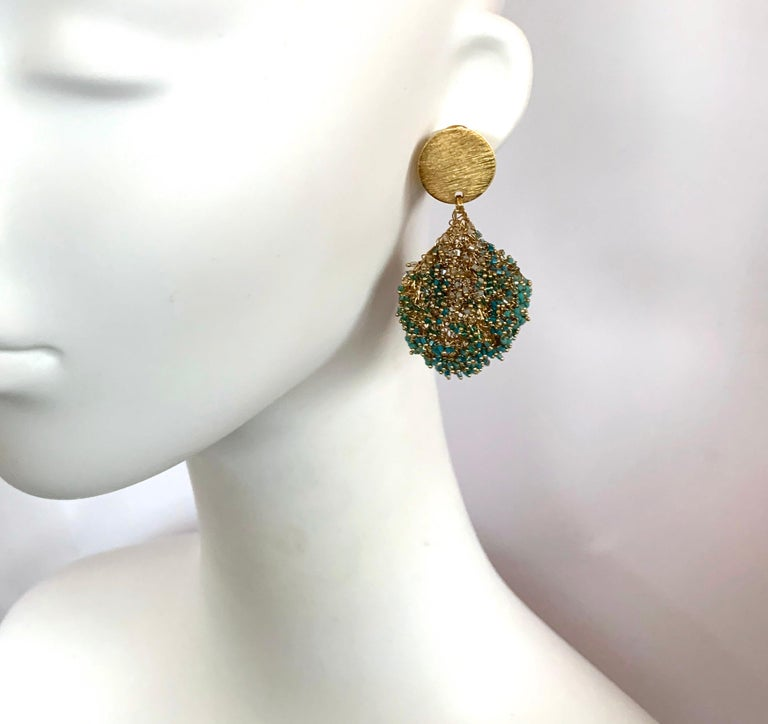 Women's Milena Zu Woven Brass Plated Gold and Turquoise Pierced Earrings For Sale