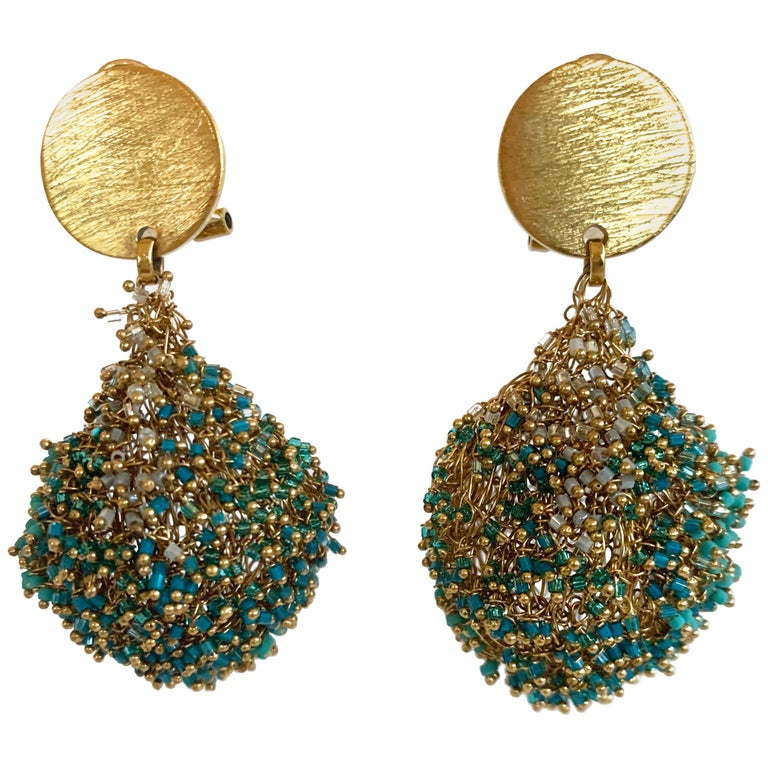 Milena Zu Woven Brass Plated Gold and Turquoise Pierced Earrings For Sale