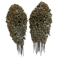 Milena Zu Woven Metal Beaded Clip Earrings