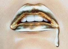 Bold Gold #2 – Miles Aldridge, Woman, Lips, Mouth, Model, Pop Art, contemporary