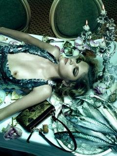Dinner Party #1  – Miles Aldridge, Woman, Fashion, Erotic, Model, Flowers, Food
