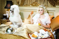 Dog Lady #2  – Miles Aldridge, Woman, Fashion, Glamour, Dog, Hotel Room, Gold