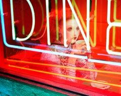 Night Car #1 – Miles Aldridge, Woman, Fashion, Glamour, Neon Light, Night