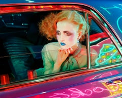 Night Car #3 – Miles Aldridge, Woman, Fashion, Glamour, Neon Light, Night, Car