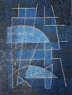 Miles Cole, Blue Composition, Original Abstract Painting, Blue Contemporary Art