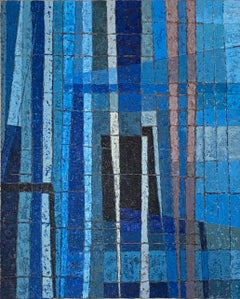 Miles Cole, Intersections, Blue Abstract Art, Original Painting,