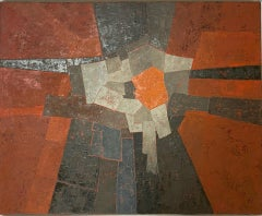 Miles Cole, Red Landscape, Original Painting, Abstract Landscape Art