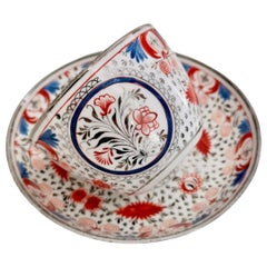 Miles Mason Pearlware Teacup, Red, Blue and Silver, Regency, circa 1810