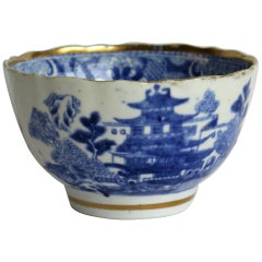 Miles Mason Porcelain Bowl Blue and White Pagoda Pattern, English, circa 1805