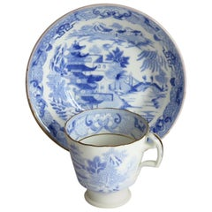 Miles Mason Porcelain Cup and Saucer Blue Broseley Willow Pattern, circa 1815