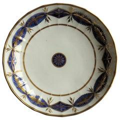 Miles Mason Porcelain Deep Plate or Dish Mazarine and Gold Pattern circa 1805