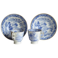 Miles Mason Porcelain Pair of Cups & Saucers Blue Broseley Willow Ptn circa 1815
