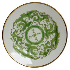 Georgian Miles Mason Porcelain Plate in Green Chinese Dragon Pattern, circa 1808