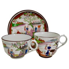 Miles Mason Porcelain Teacup Trio Boy at the Door Pattern Chinoiserie circa 1805
