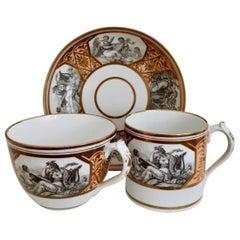 Miles Mason Porcelain Teacup Trio, Minerva and Cherubs, Bronze, Regency ca 1810