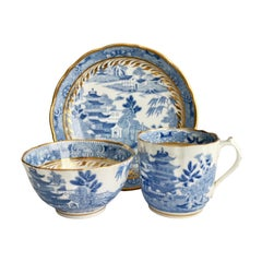 Miles Mason Porcelain Teacup Trio, Pagoda Pattern Blue White Transfer, ca 1810