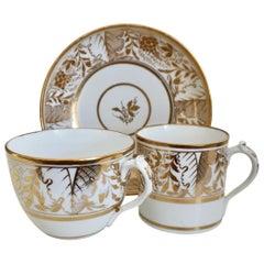 Miles Mason Porcelain Teacup Trio, Provenance, Gilt Vines, Regency, circa 1810