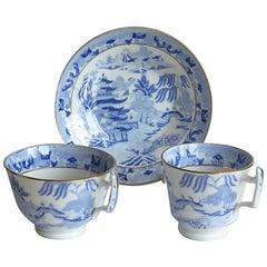 Miles Mason Porcelain Trio Blue and White Broseley Willow Pattern, circa 1815