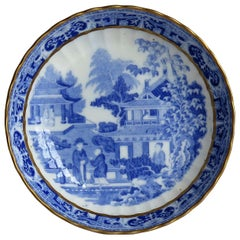 Miles Mason Saucer Dish Blue and White Porcelain Chinamen on Verandah Pattern
