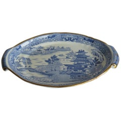 Miles Mason Teapot Stand or Dish Blue and White Pagoda Pattern, circa 1810