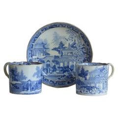 Miles Mason Two Coffee Cans & Saucer Porcelain Chinamen on Verandah Ptn, Ca 1805