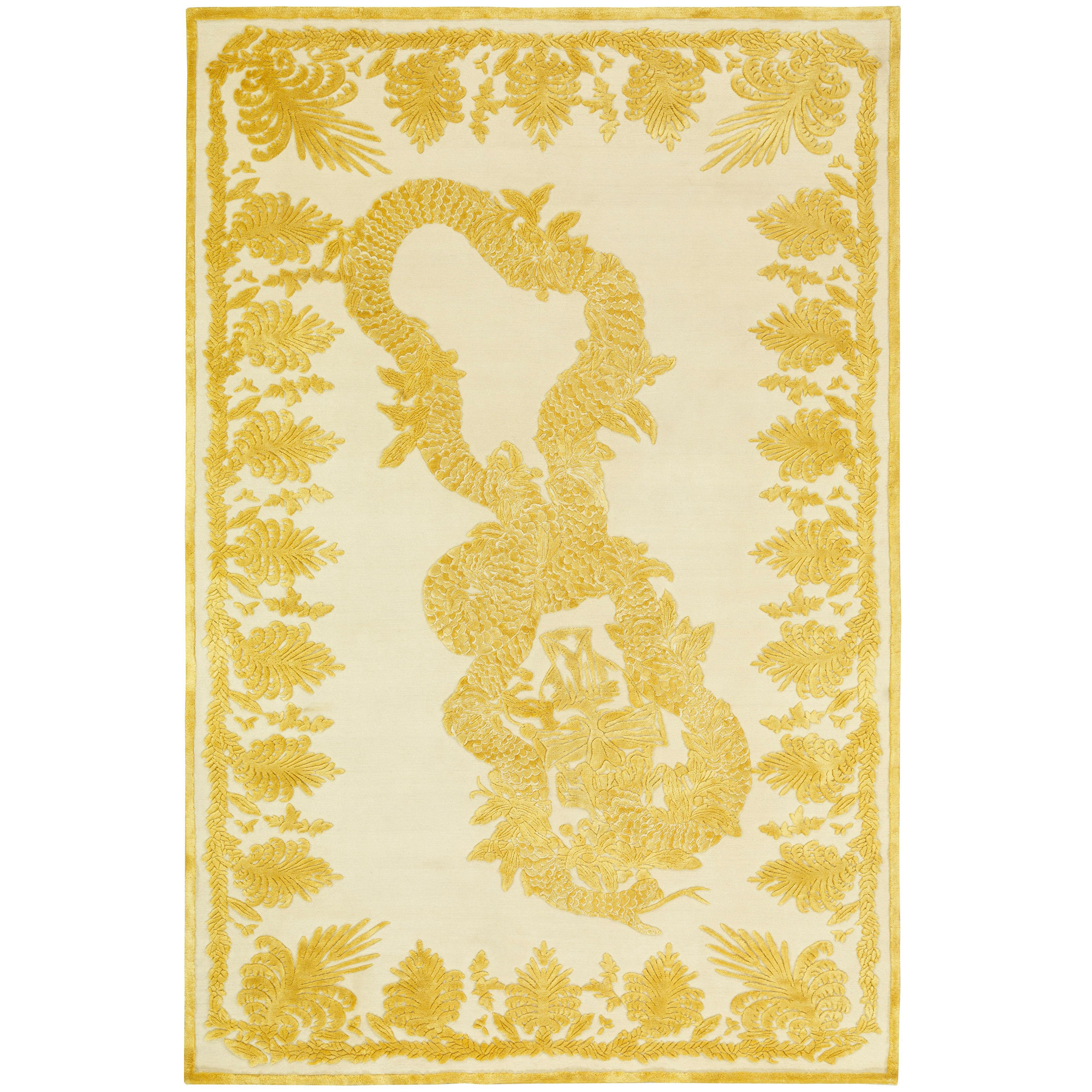 Military Brocade Ivory Hand-Knotted 10x8 Rug in Wool & Silk by Alexander McQueen