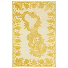 Military Brocade Ivory Hand-Knotted Area Rug in Wool & Silk by Alexander McQueen