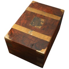 Military Campaign Brass Bound Victorian Walnut Veneered Writing Slope with Keys