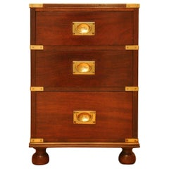 Military Campaign Chest Brass Bound Mahogany Three-Drawer Pedestal, Side Table