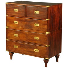 Military Campaign Chest of Drawers Mahogany Anglo Inidian Victorian, circa 1850