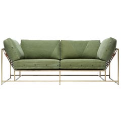 Military Canvas and Antique Brass Two-Seat Sofa and Bench
