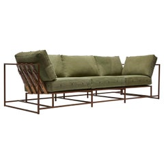 Military Canvas and Antique Copper Sofa
