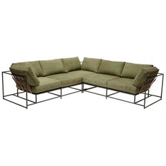 Military Canvas and Blackened Steel Large Sectional