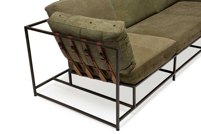 Modern Military Canvas and Blackened Steel Sofa V1 For Sale