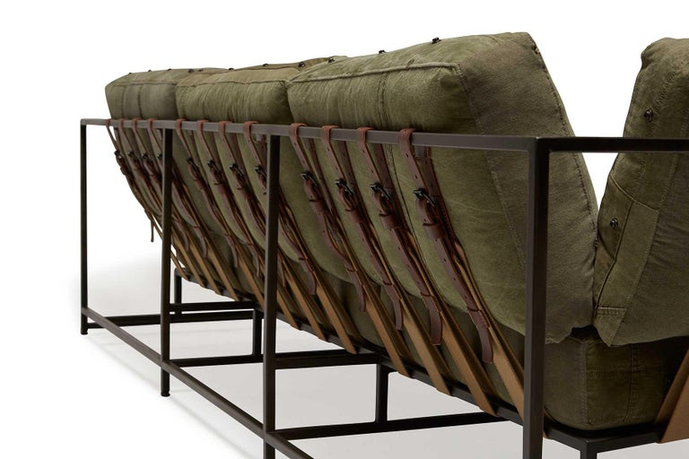 American Military Canvas and Blackened Steel Sofa V1 For Sale