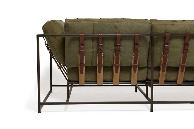 Military Canvas and Blackened Steel Sofa V1 In New Condition For Sale In Los Angeles, CA